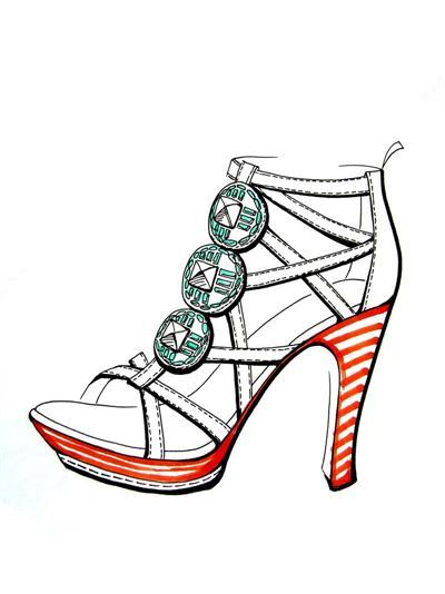 女式皮鞋效果图