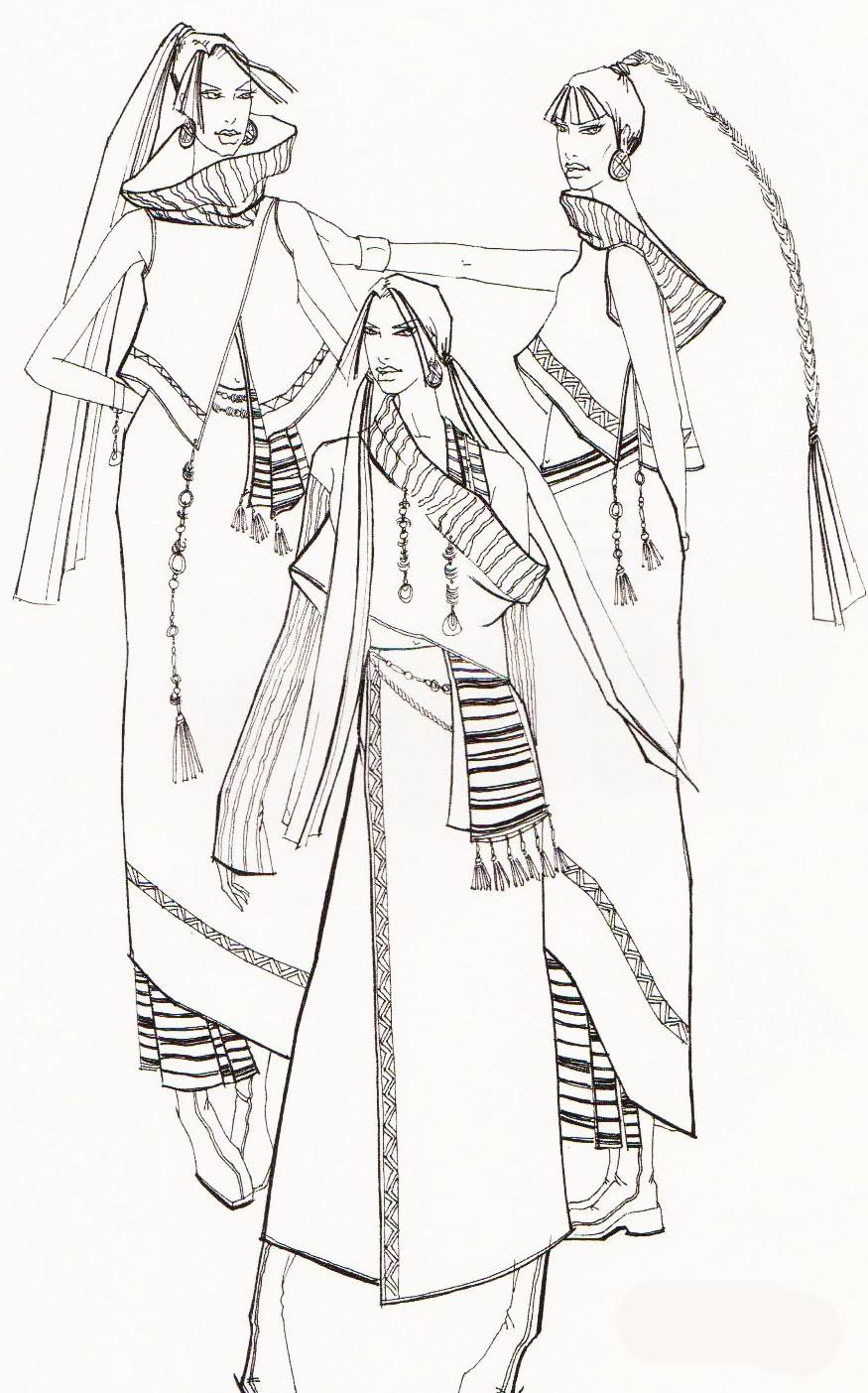 服装线描人体_服装设计人体结构解析---服装效果图的勾线方法(图)-设计家园 ...
