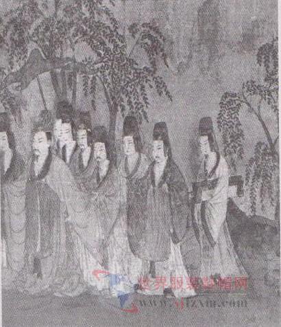 洛神赋图 中的魏晋士服饰图片