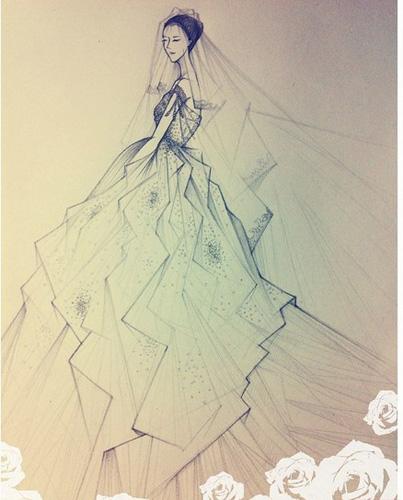 设计师手稿-李小璐今日大婚婚纱 纯手工工艺钉珠点缀