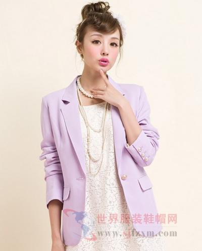 浅紫色修身小西装-秋季新款小西装 时尚优雅轻松hold住办公气场